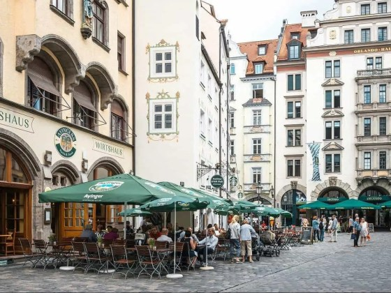 MUNICH, GERMANY-June 4: Street view of Tourists on foot Street i