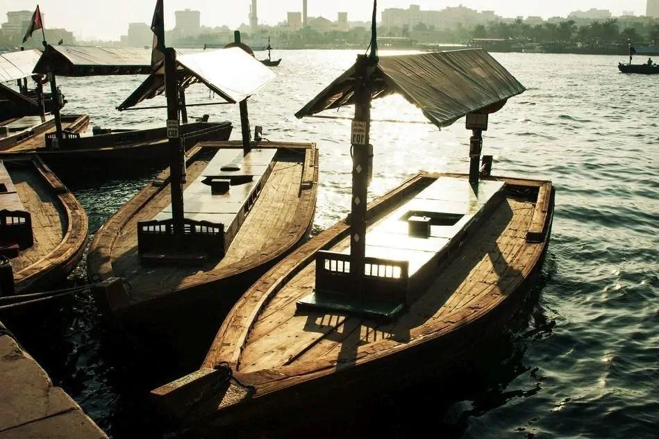 Traditional Abra ferries at the creek in Dubai, United Arab Emirates