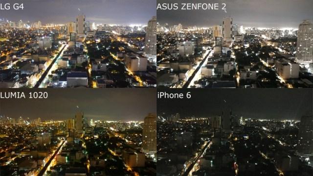 night mode lg g4 vs zenfone 2 vs lumia 1020 vs iphone 6