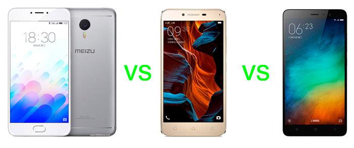 Meizu m3 Note vs Lenovo Vibe K5 Plus, Redmi 3 Specs Comparison