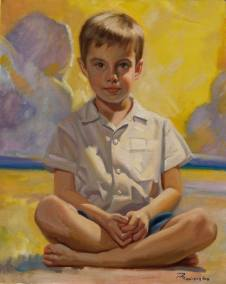 portrait arti boy on the beach
