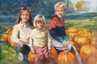 kids with punkins portrait