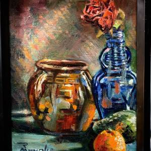 Still Life with Orange, Avocado and Rose