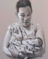 """Baby/Parent Charcoal sketches (with Conte) 9"""" x 12"""""""