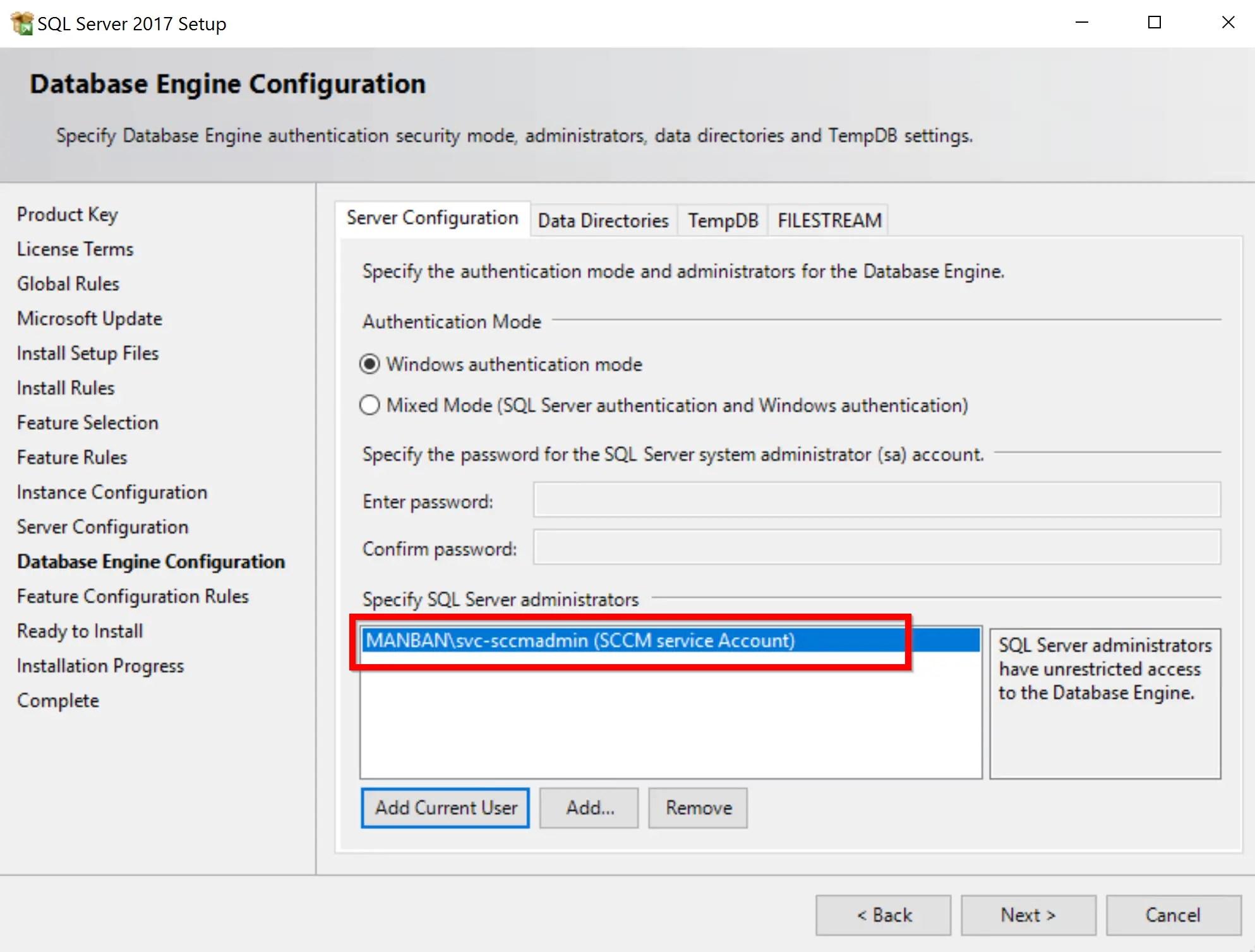 SQL Server 2017 Step by step for SCCM Installation 11