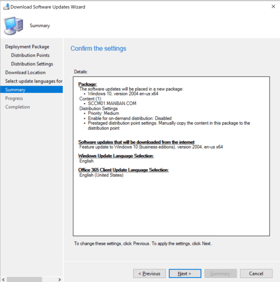 Deploy Feature Update Win10 2004 SCCM 12