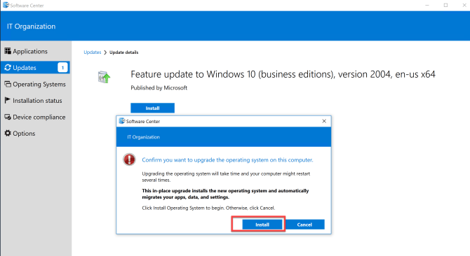 Deploy Feature Update Win10 2004 SCCM 25