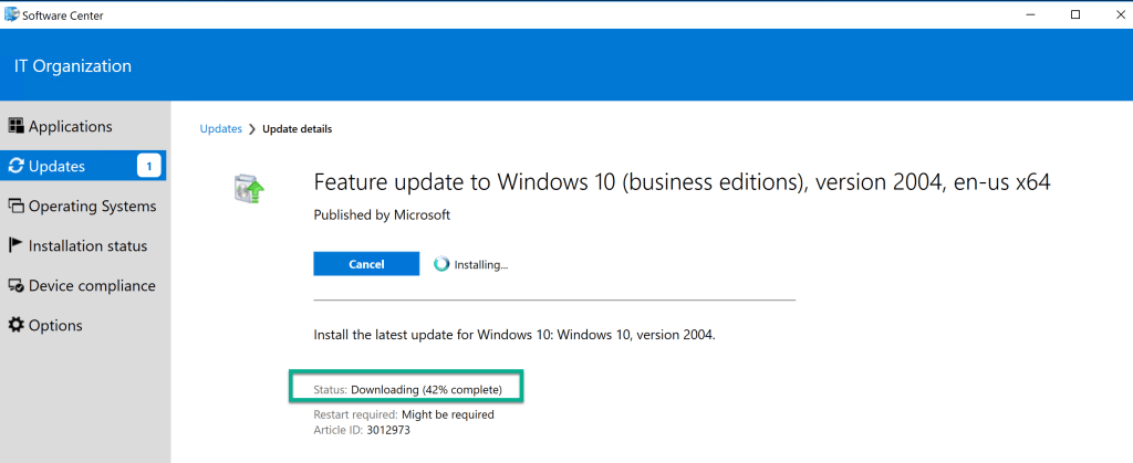 Deploy Feature Update Win10 2004 SCCM 26