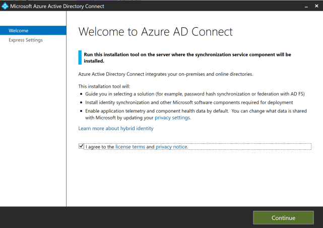 Welcome to Azure AD Connect
