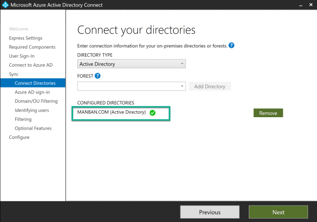 How to connect AD DS with Azure AD through AD Connector 4