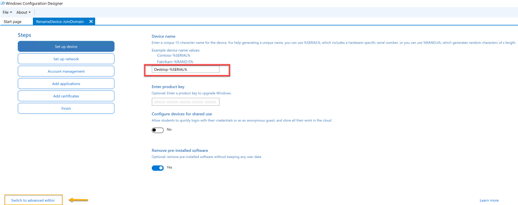 Create provisioning package using Windows Configuration Designer 4