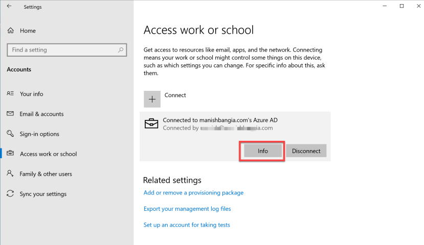 Connected to Azure AD