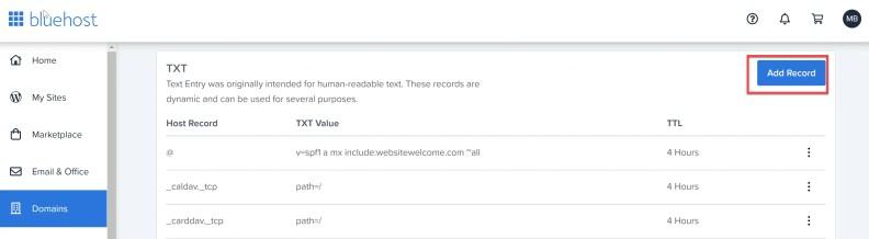 DNS txt Add Record