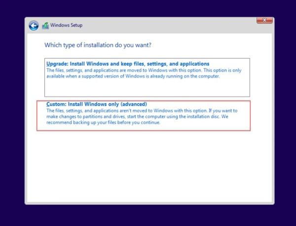 Custom: Install Windows only
