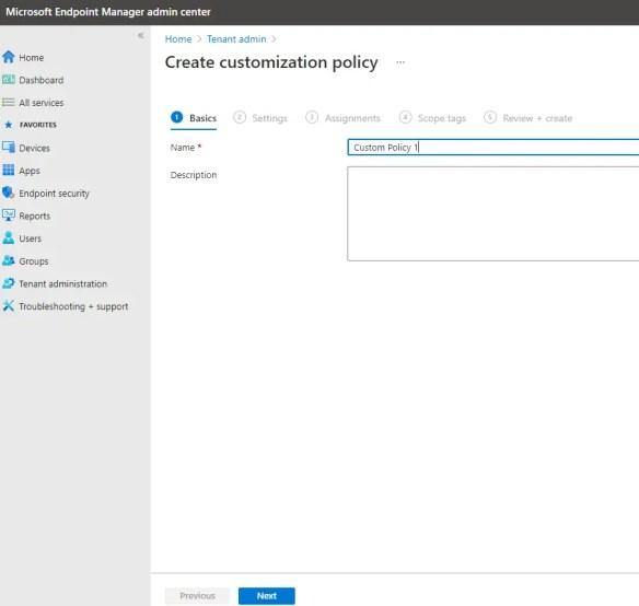 Create customization policy