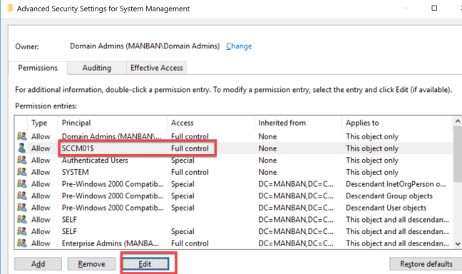 System Management Advanced Security Settings