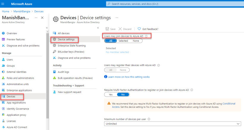 Users may join devices to Azure AD
