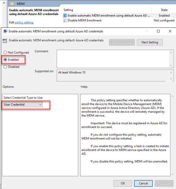 Enable automatic MDM enrollment using default Azure AD credentials