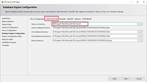 SQL Server 2019 setup Data Directories