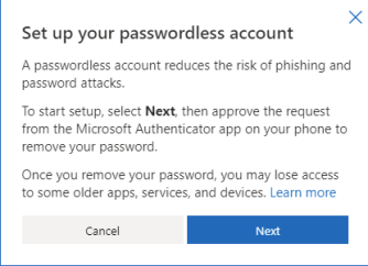 set up your passwordless account