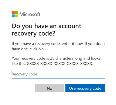 Microsoft account recovery code