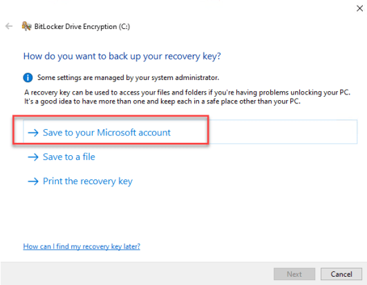 recovery key Save to your Microsoft account