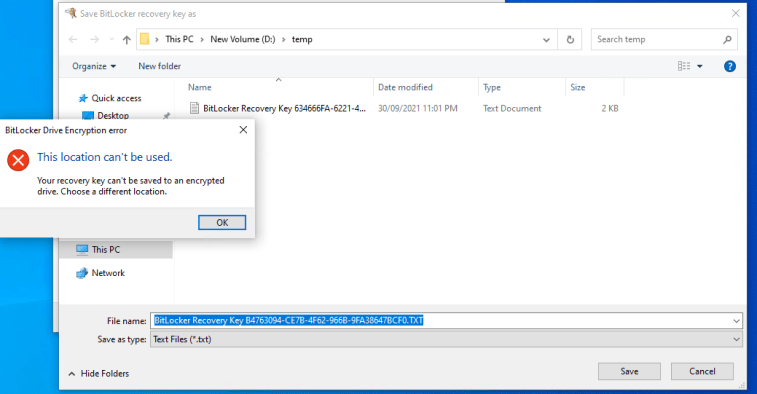 Your recovery key can't be saved to an encrypted drive