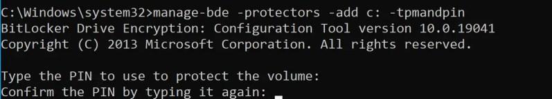 manage-bde -protectors -add c: -tpmandpin