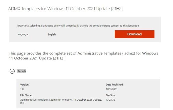 ADMX Templates for Windows 11 October 11