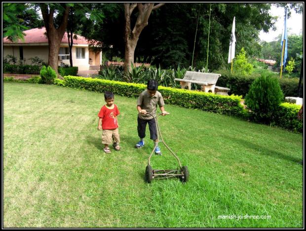 Cutting the grass is not a child's play