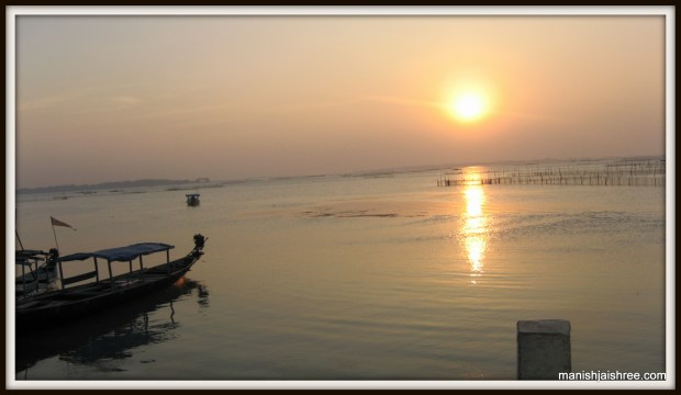 The sunset from the Chilika Lake