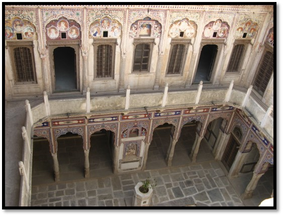 Main courtyard in Morarka Haveli, Nawalgarh
