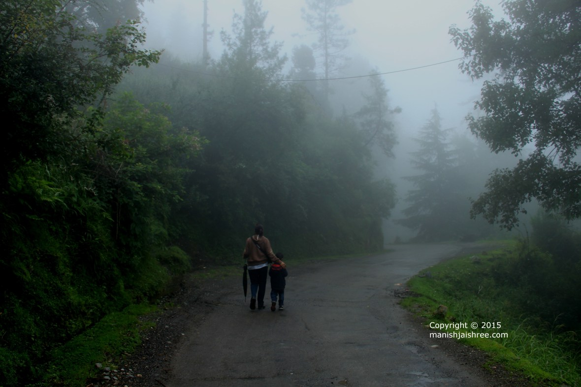 Walk to disappear in the mist.
