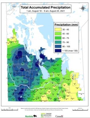 Precipitation Aug. 18 to 25, 2021.