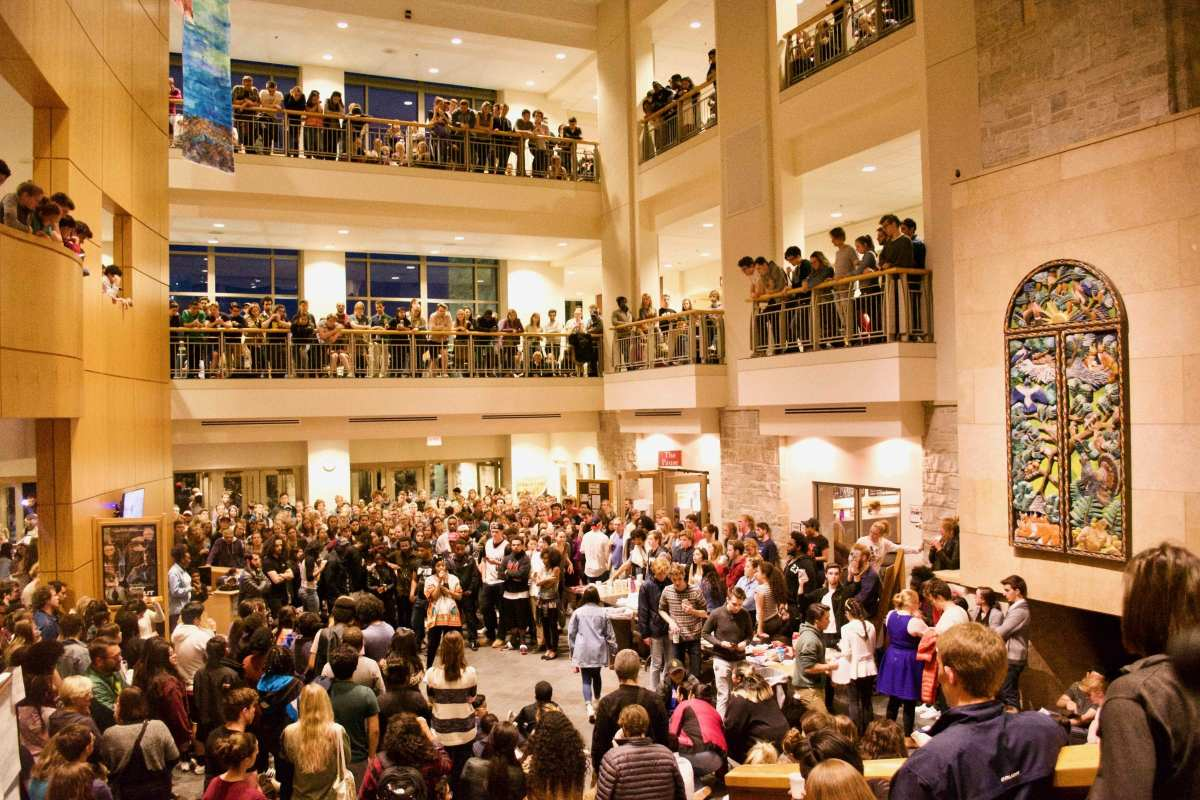 Students fill Buntrock Commons to protest racism at St. Olaf
