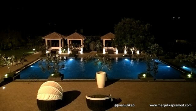 Swimming pool in the night at khopoli, Novotel Imagica