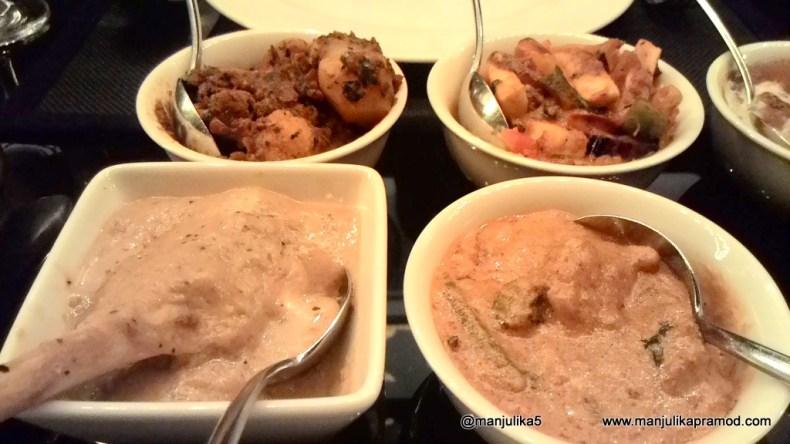 Aloo gobi, Paneer, Lamb and chicken curry