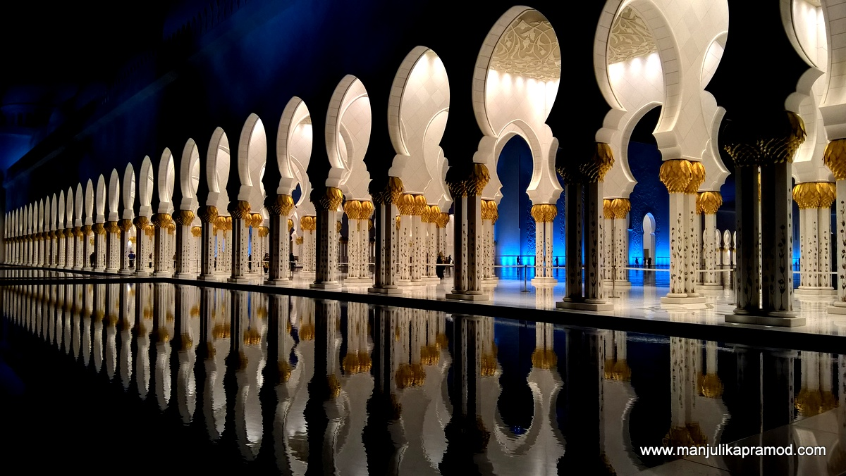 The reflective pools in the mosque