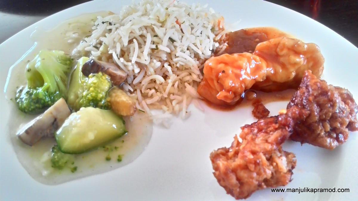 Fish in Hongkong style, Fried Rice, Stir fried vegetables