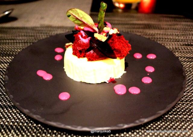 Baked lemon cheese cake with red velvet sponge, Dessert