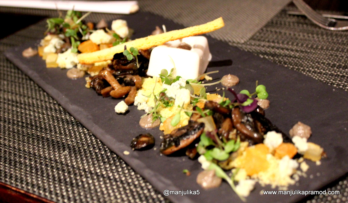 Wild mushrooms, roasted garlic panna cotta, brioche crumble, Cape Town