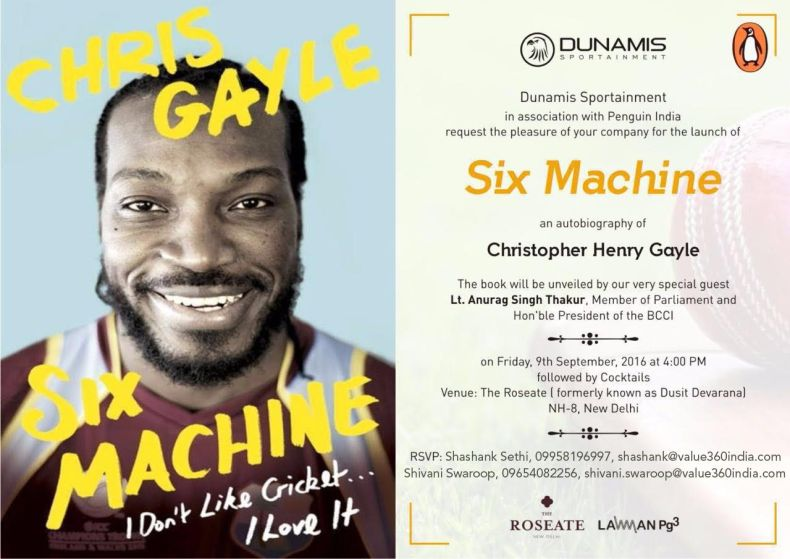 Chris Gayle, Six Machine, Book launch