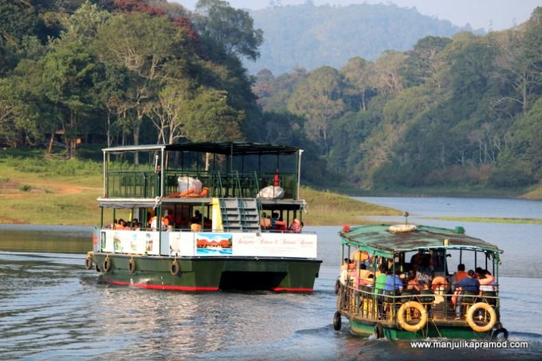 Boat cruising in Periyar, Thekkady