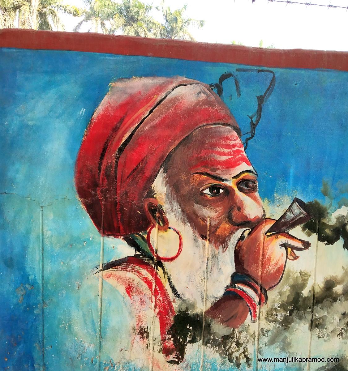 A street art showing a saint in Varanasi.