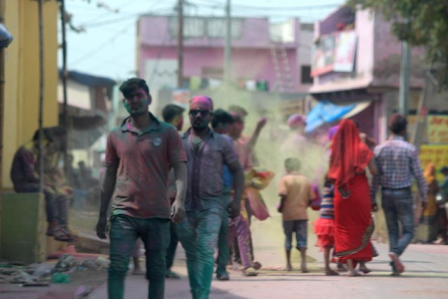Celebrating Holi on the streets of Govardhan