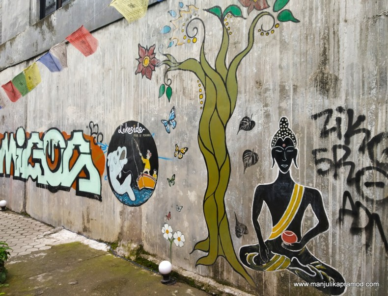 Street art around lakeside in Pokhara