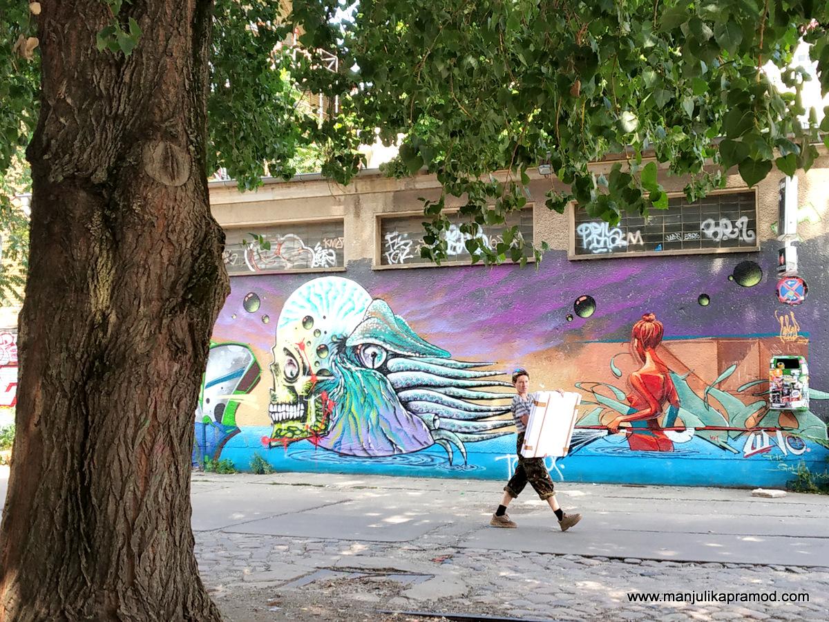 Works of street art in Berlin.