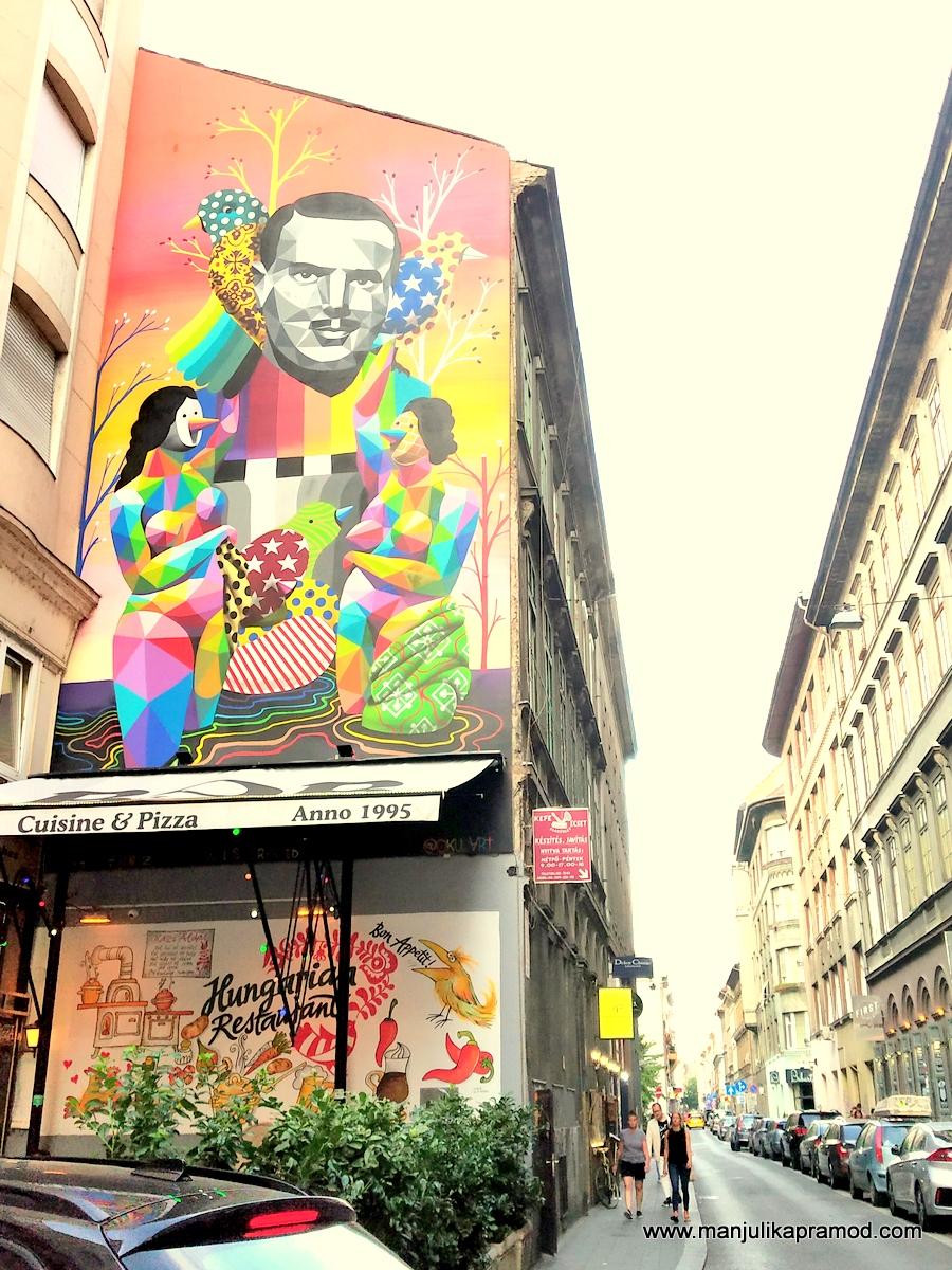 Famous street art of Budapest