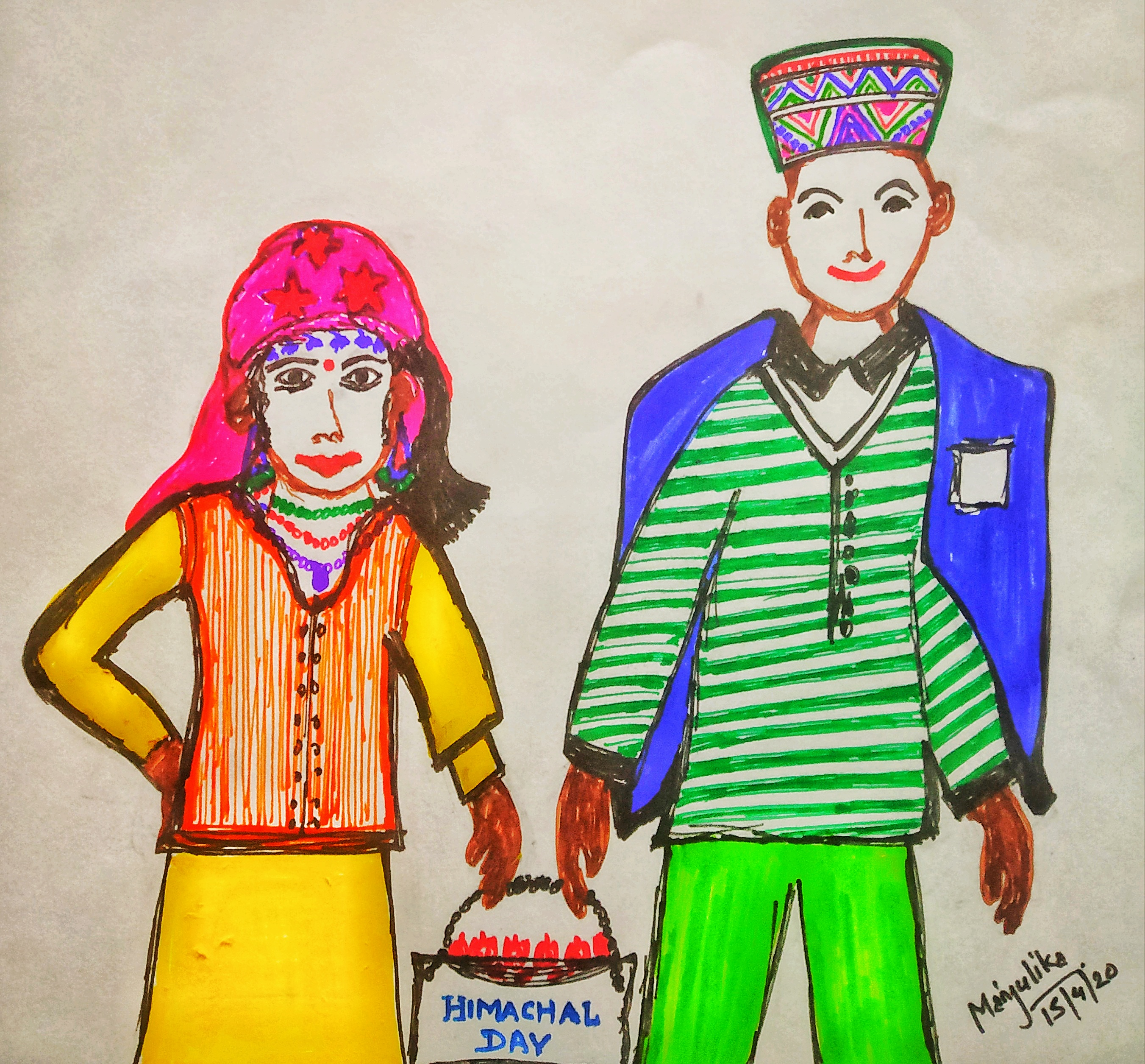 Himchali man and woman -Art work