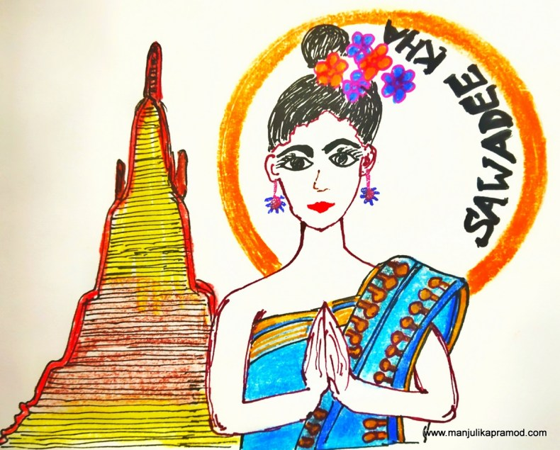 Drawing of a girl saying Swadee Kha -Thailand Video